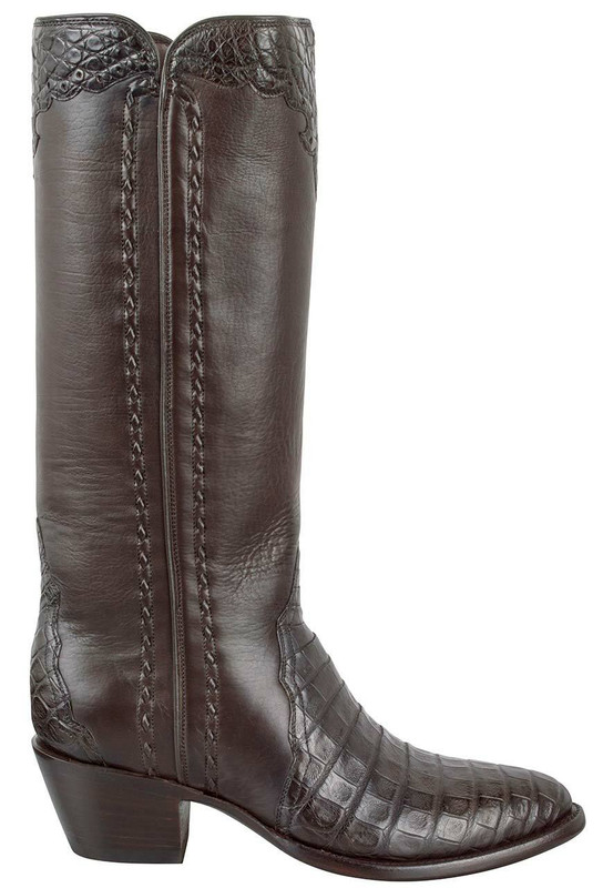 Stallion Women's Chocolate Caiman Majestic Zipper Boots - Side