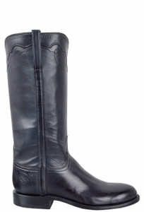 Lucchese Women's Navy Burnished Baby Buffalo Roper Boots - Side