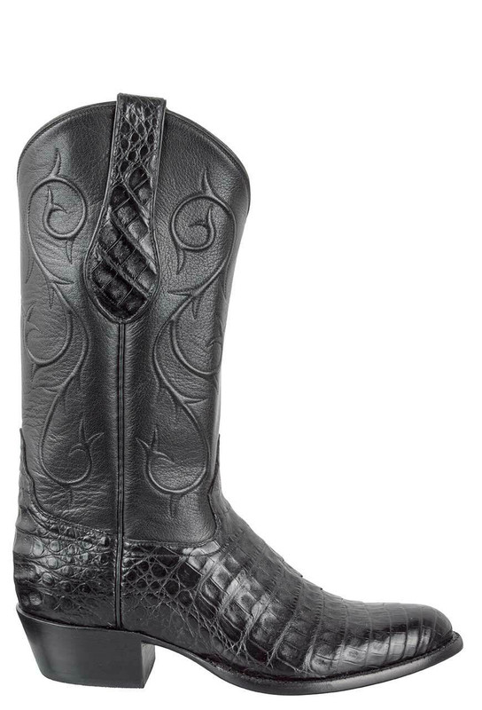 TONY LAMA SIGNATURE SERIES MEN'S BLACK CAIMAN BELLY BOOTS