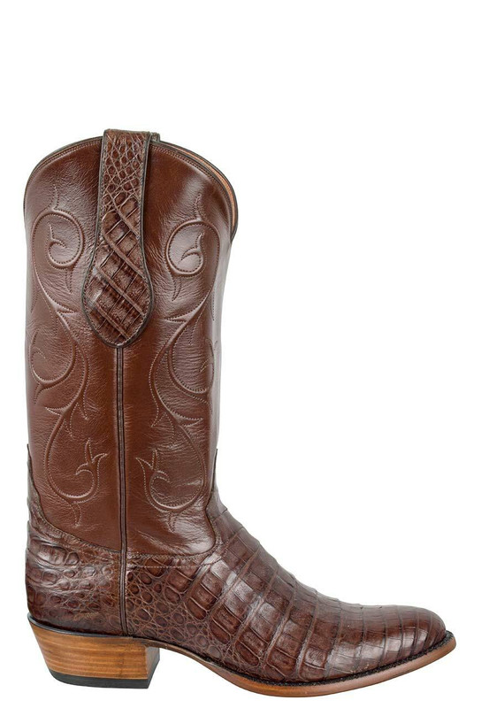 TONY LAMA SIGNATURE SERIES MEN'S CHOCOLATE CAIMAN BELLY BOOTS