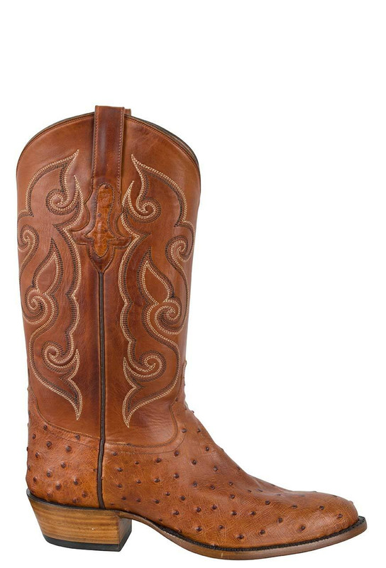 TONY LAMA SIGNATURE SERIES MEN'S COGNAC FULL-QUILL OSTRICH BOOTS