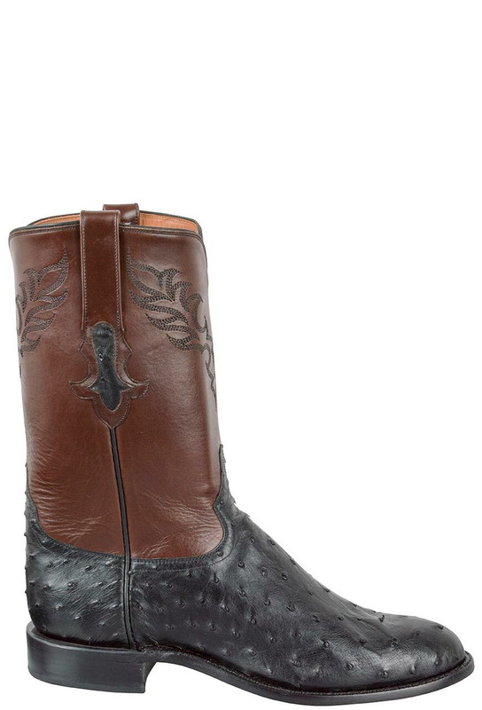 Tony Lama Signature Series Men's Black Full-Quill Ostrich Roper Boots - Side