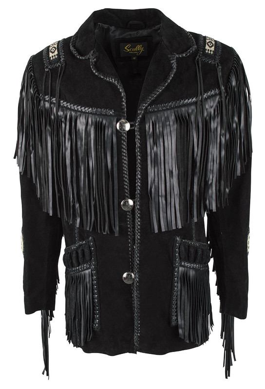 Scully Black Boar Suede Handlaced Bead Trim Coat - Front