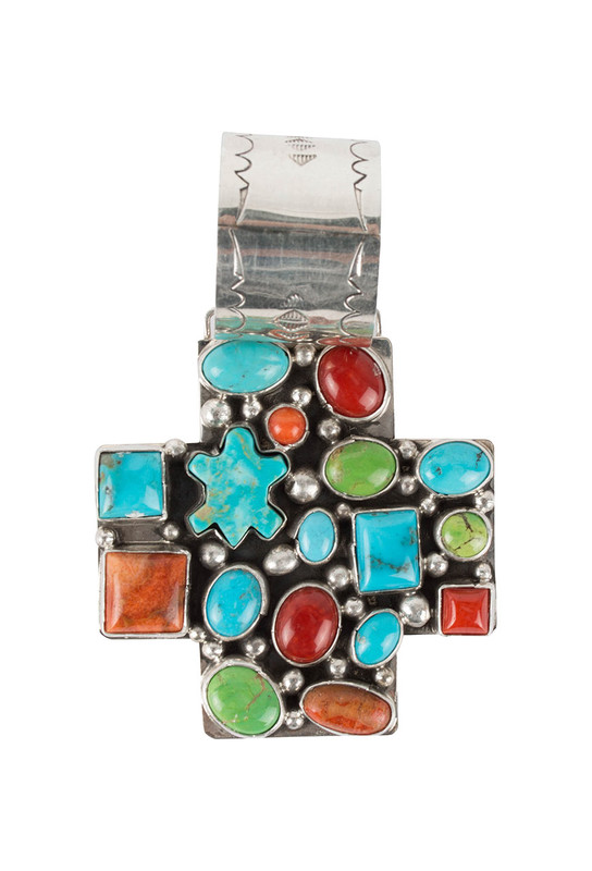 Rocki Gorman Multi Stone Cross Path Pendant - Front