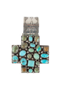 Rocki Gorman Blue and Green Turquoise Cross Path Pendant - Front