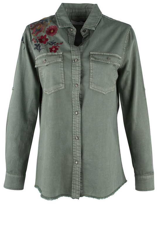 Billy T Rolled Sleeves Embroidered Shirt - Front