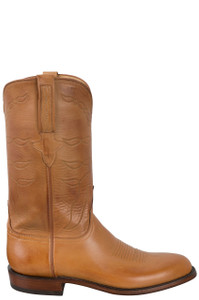 Lucchese Men's Sand Burnished Baby Buffalo Roper Boots - Side