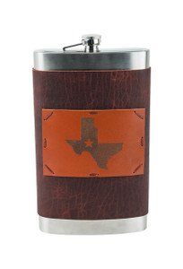 Gift - 64 OZ Texas State and Flag Flask - Front