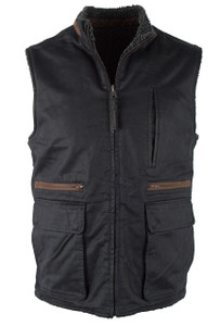 Madison Creek Reversible Sherpa Fleece Vest - Black - Front