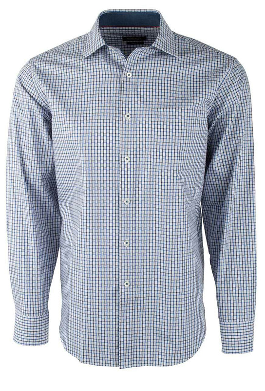 Bugatchi Air Blue Mini Check Shirt - Front
