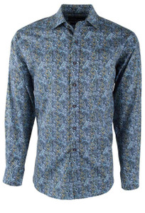 David Smith Australia Steel Regent Print Shirt  - Front