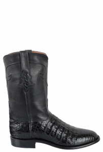 Tony Lama Signature Series Men's Black Caiman Belly Roper Boots - Side