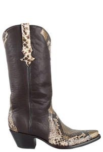 Stallion Women's Gold Painted Python Boots - Side