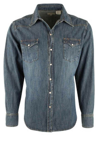 Stetson Original Rugged Garment Washed Denim Snap Shirt - Front
