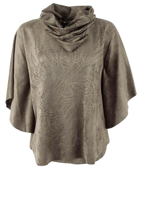 Alberto Makali Faux Suede Floral Laser Cut Poncho Top - Front