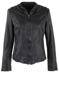Hiso Black Laced Leather Metal Cropped Leather Jacket -  Front