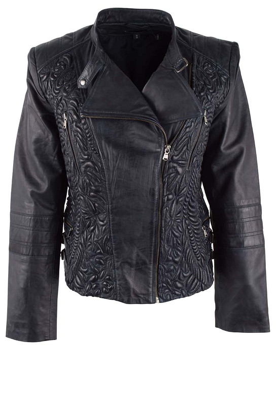 Hiso Navy Trupanto Embossed Moto Leather Jacket  - Front