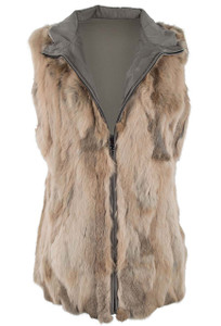 Metric Reversible Rabbit Fur Vest - Front