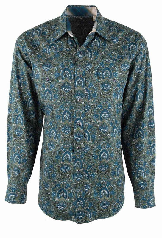 Stetson Green Peacock Paisley Snap Shirt - Front