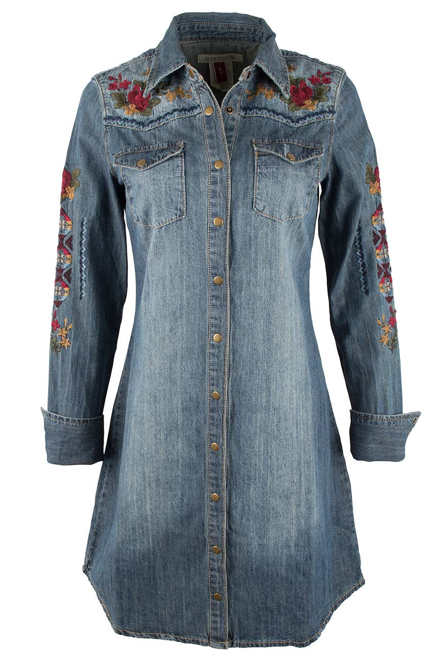 6aba20d03d Stetson Denim Shirt Dress with Floral Embroidery - Pinto Ranch