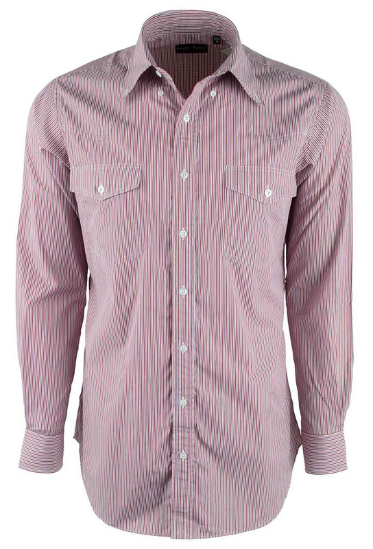 Pinto Ranch YY Collection Red and White Stripe Poplin Shirt - Front