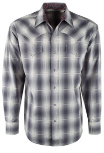 Stetson Gray Dove Ombre Plaid Snap Shirt - Front