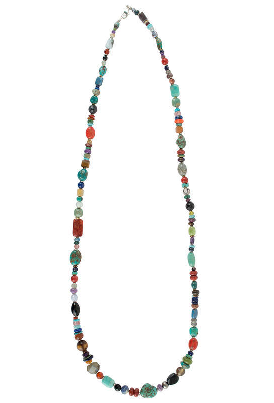 Turquoise Moon Long Multi Bead and Stone Necklace