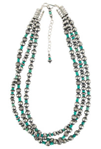 "Turquoise Moon 20"" 3 Strand Turquoise and Sterling Silver Bead Necklace"