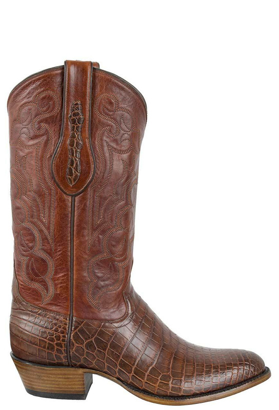 Tony Lama Signature Series Men's Chasi Brown Nile Crocodile Belly Boots - Side