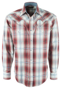 Stetson Brown Fireside Plaid Snap Shirt - Front
