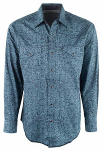 Stetson Blue Pin Point Foliage Print Snap Shirt - Front