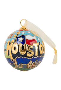 "Houston, Texas ""Space City"" Cloisonne Ornament  - Front"