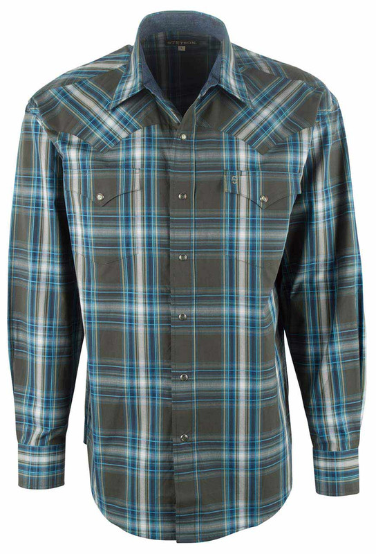 Stetson Green Mineral Plaid Snap Shirt -Front