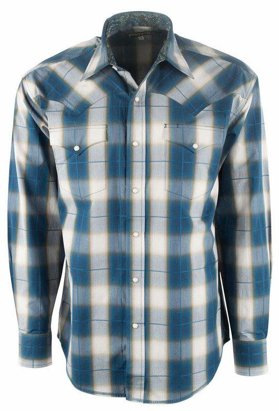 Stetson Teal Blue Ombre Plaid Snap Shirt - Front