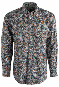 Cinch Teal and Black Paisley White Shirt - Front