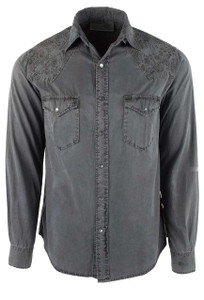 Ryan Michael Scroll Embroidered Snap Shirt - Silver - Front