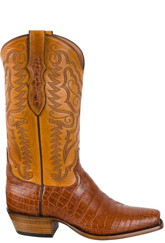 Tony Lama Signature Series Men's Brandy Vintage Nile Crocodile Belly Boots  - Side