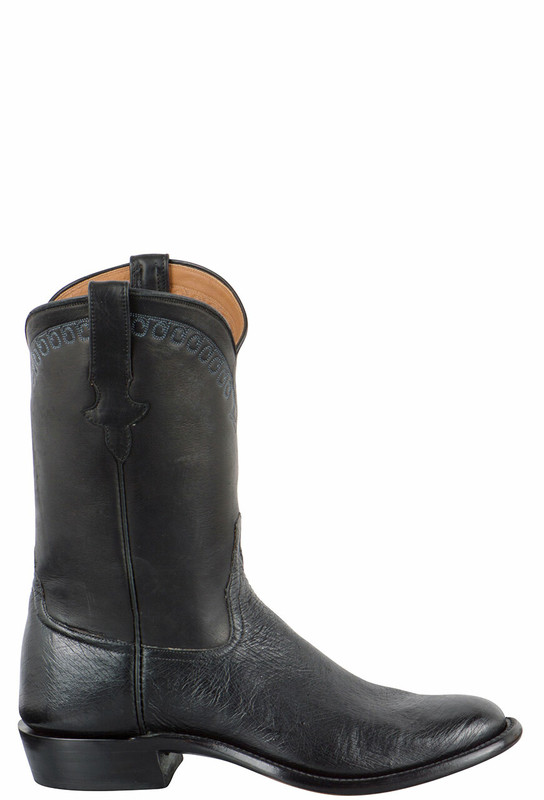 Rios of Mercedes Men's Black Smooth Ostrich Roper Boots with Stitching - Side