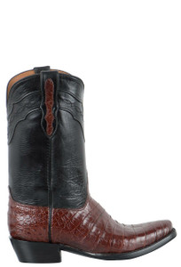 Black Jack Boots for Pinto Ranch Men's Italian Red Select Caiman Belly Boots - Side