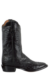 Rios of Mercedes Men's Black Americano Full-Quill Ostrich Boots with Stitching - Side