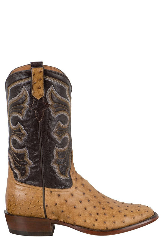Rios of Mercedes Men's Antique Saddle Full-Quill Ostrich Boots - Side