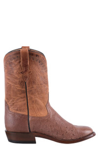 Rios of Mercedes Men's Rum Brown Smooth Ostrich Roper Boots - Side