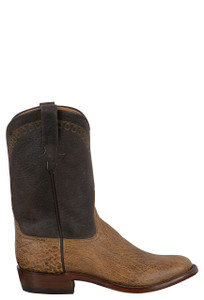 Rios of Mercedes Men's Peat Vintage Smooth Ostrich Roper Boots - Side