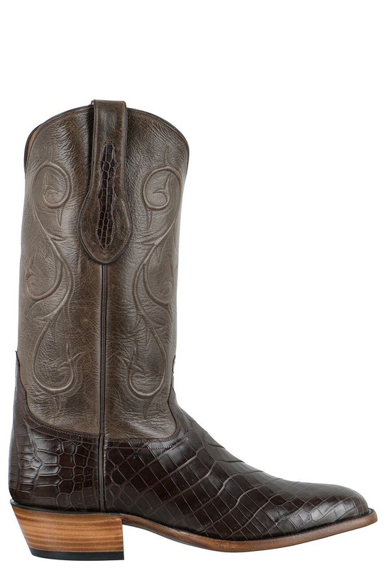 Tony Lama Signature Series Men's Chocolate Nile Crocodile Belly Boots - Side