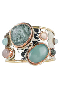 David Jeffrey Rose Quartz, Seraphenite and Chalcedony Mixed Metal Cuff - Front