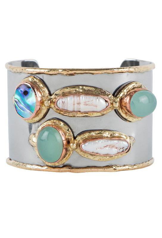 David Jeffrey Chalcedony, Abalone and Baroque Pearl Mixed Metal Cuff - Front