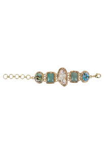 David Jeffrey Chalcedony, Abalone and Baroque Pearl Bracelet