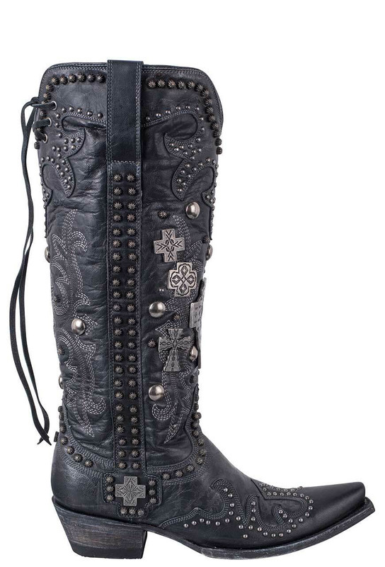 Double D Ranch by Old Gringo Black Ammunition Boots - Side