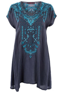 Johnny Was Eros Blue Tunic - Front