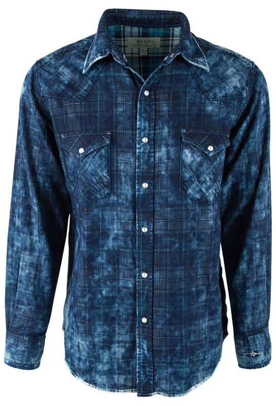 Ryan Michael Midnight Double Face Plaid Snap Shirt - Indigo - Front